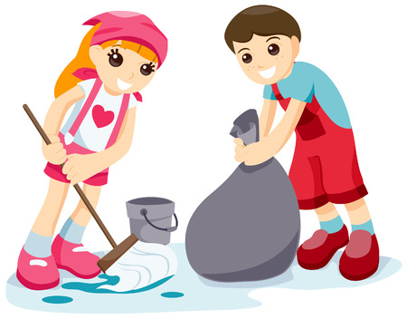 chore: Children Cleaning with Clipping Path Illustration