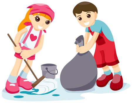Limpieza de los niños con saturación camino