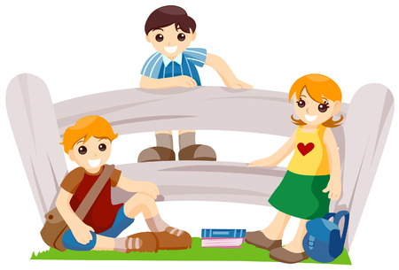 Gradeschoolers Hanging out with Clipping Path Stock Vector - 3902734