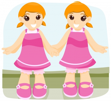 identical: Identical Twin with Clipping Path Illustration