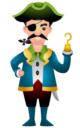 Cartoon Pirate with Clipping Path Vector