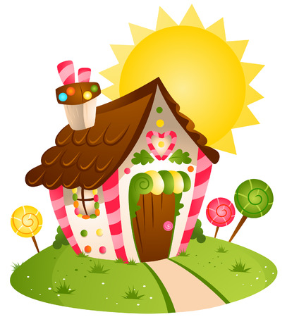 Candy House with Clipping Path Vector
