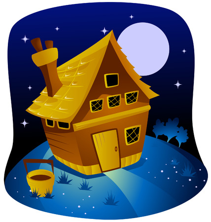 clipart chimney: Night Farm with Clipping Path