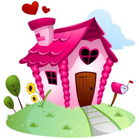 love cartoon: Love House with Clipping Path