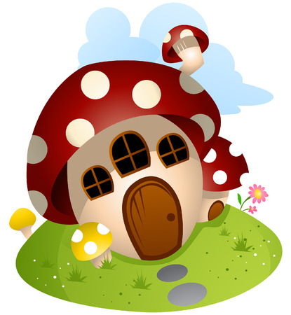 Mushroom House with Clipping Path Vector