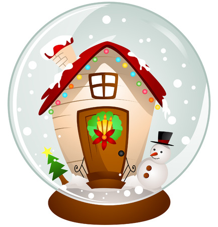 snowmen: A Snowglobe with Clipping Path Illustration