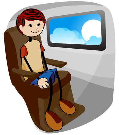 Boy on Plane with Clipping Path Stock Vector - 3928194