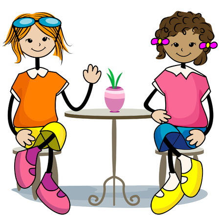 Friends Hanging Out with Clipping Path Stock Vector - 3928188