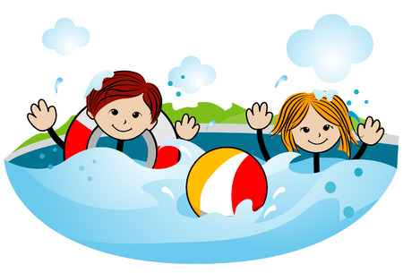 Kids Swimming with Clipping Path Vector