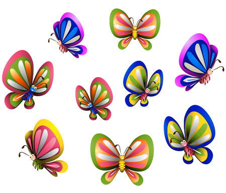 Several Butterflies with Clipping Path Vector