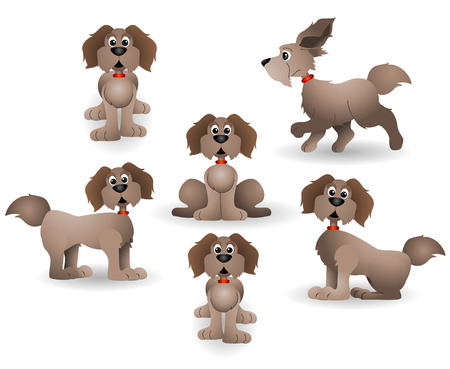 Six Dogs with Clipping Path Stock Vector - 3928251