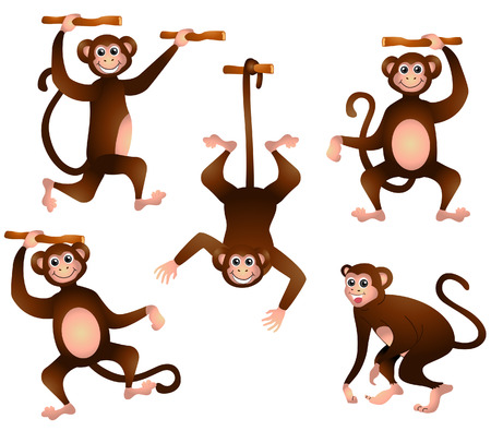 Monkeys Illustration with Clipping Path Stock Vector - 3928230