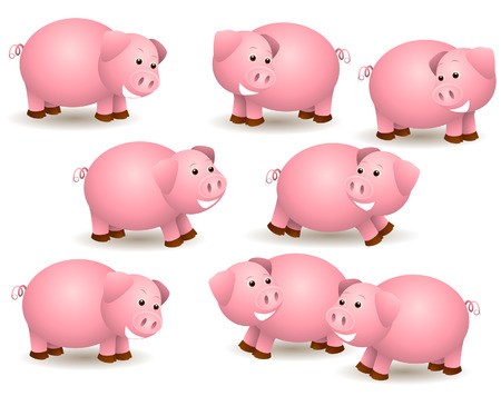 Pigs Illustration with Clipping Path Vector