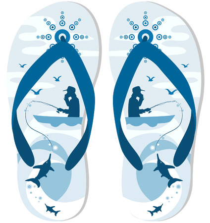 slipper: Flip Flops Design with Clipping Path Illustration
