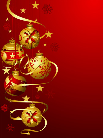 Christmas Balls in Red and Gold Illustration