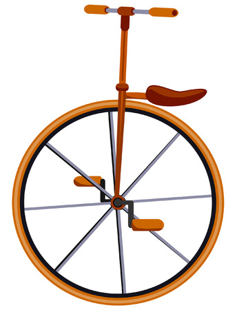 Unicycle Illustration with Clipping Path Vector