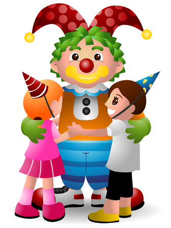 Cartoon Clown with Clipping Path Vector