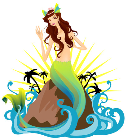 Mermaid Illustration with Clipping Path Vector