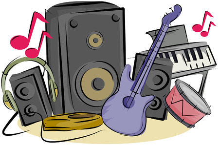 Musical Instruments with Clipping Path Vector