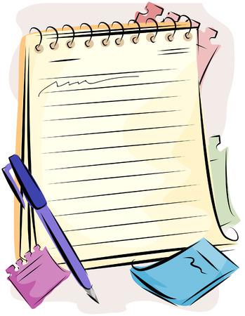 Blocco note e penna con Clipping Path