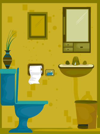 toilet bowl: Bathroom Illustration (1 of 10)