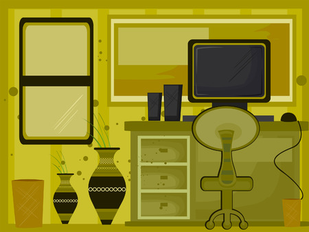 pieces of furniture: Home Office Illustration ( 3 of 10) Illustration
