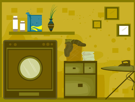 piece of furniture: Laundry Room Illustration (8 of 10)