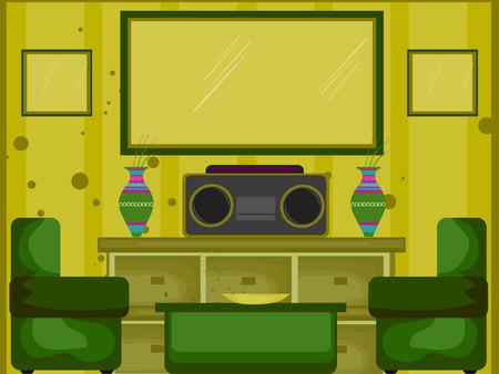 pieces of furniture: Living Room Illustration (10 of 10) Illustration