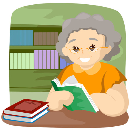 old people reading: Senior Reading Book with Clipping Path Illustration