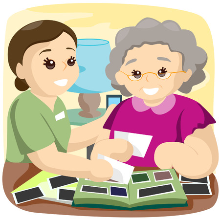 Senior and Caregiver looking at photos with Clipping Path Illustration
