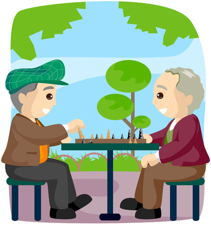 Seniors Playing Chess with Clipping Path Vector Illustration