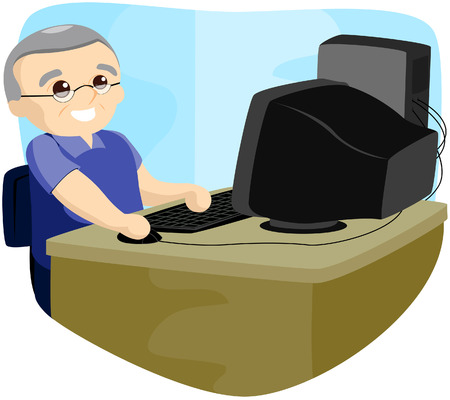 using computer: Senior Using Computer with Clipping Path Illustration