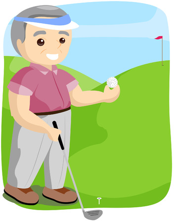 Senior Playing Golf with Clipping Path