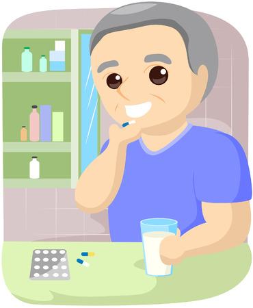 elder: Senior Taking Medicine with Clipping Path Illustration
