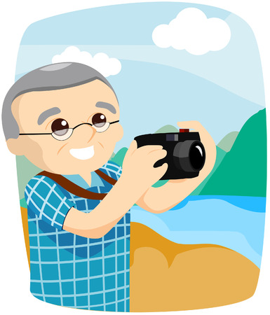 Senior taking Pictures with Clipping Path Stock Vector - 4090180