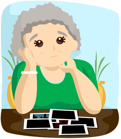 alzheimers: Senior Thinking (Alzheimers) with Clipping Path Illustration