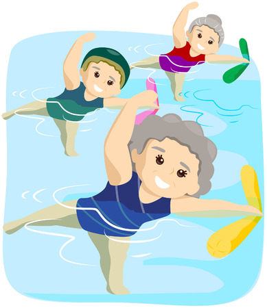 Water Exercise for Seniors with Clipping Path Stock Vector - 4090183