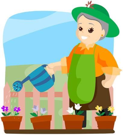 Senior Gardening with Clipping Path Vector
