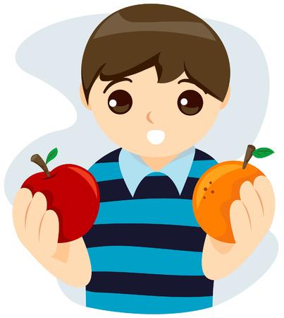 choosing: Kid choosing between Apple and Orange with Clipping Path