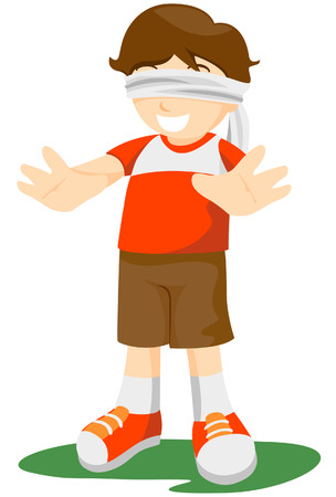 blindfolded: Blindfolded Kid with Clipping Path