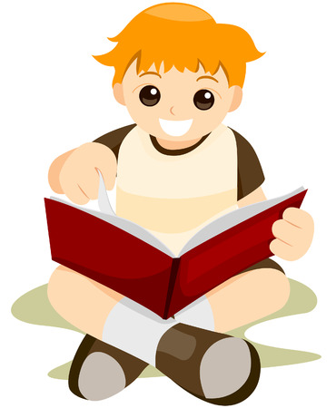gradeschool: Kid reading Book with Clipping Path