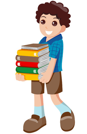 gradeschool: Kid Carrying Books with Clipping Path