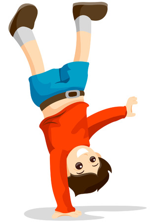 CartWheel Kid with Clipping Path
