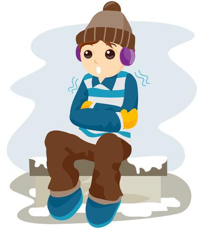 frieren: Kalte Kind mit Clipping-Pfad Illustration