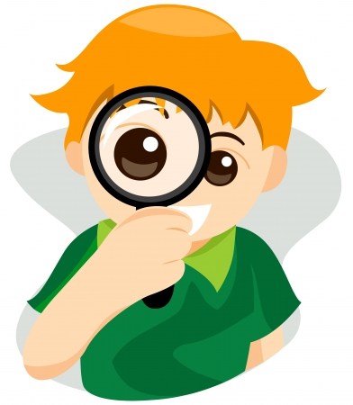 kids glasses: Magnifying Glass Kid with Clipping Path
