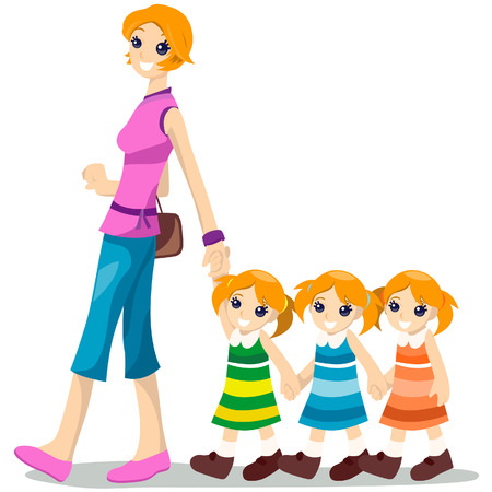 triplet: Mother with Triplet with Clipping Path