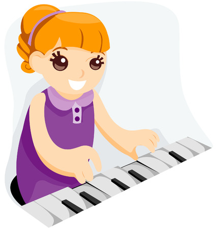 Kid playing Piano with Clipping Path Stock Vector - 4101938