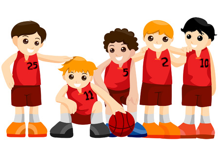 Basketball Team with Clipping Path Vector