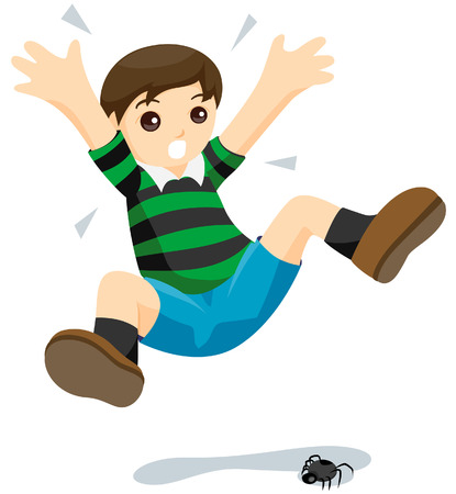 Child scared of Spiders with Clipping Path Illustration