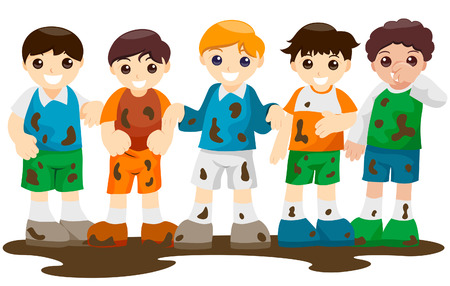 Dirty Kids from playing Outdoors with Clipping Path Vector